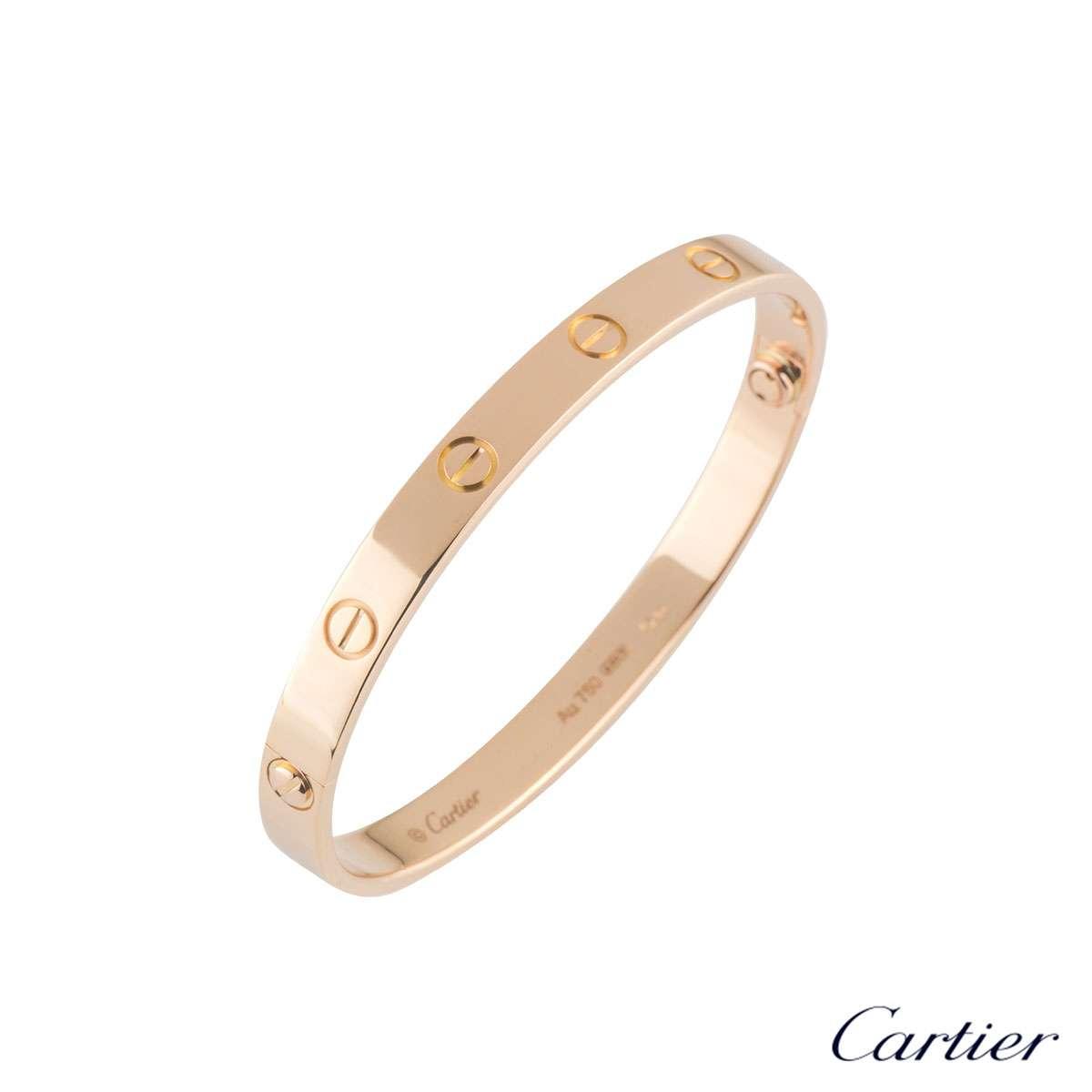 Cartier Rose Gold Plain Love Bracelet Size 21 B6035621